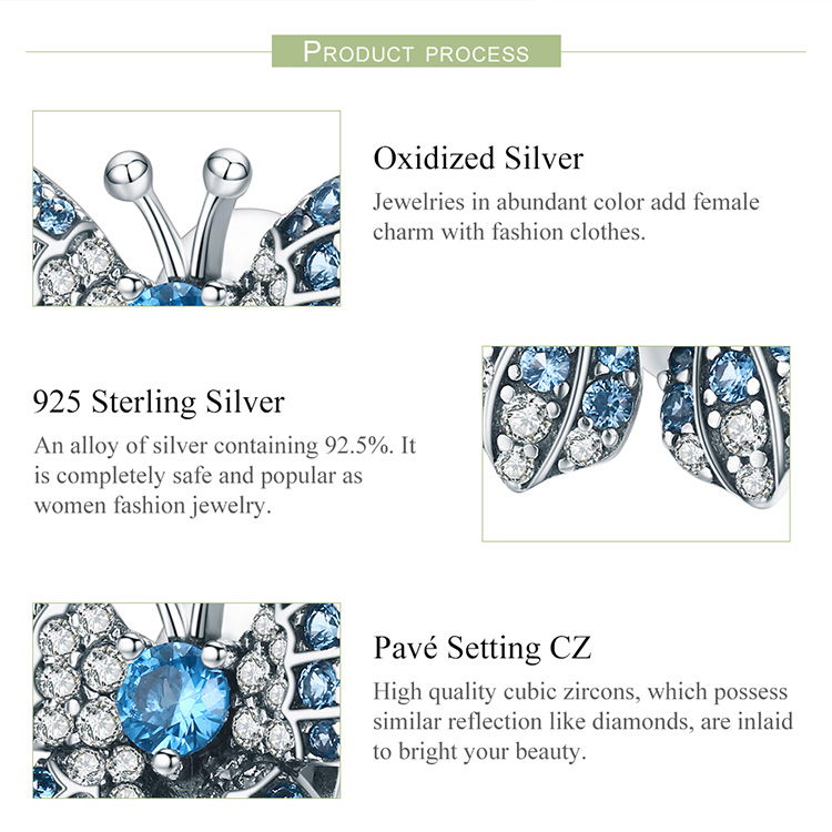 BAMOER 100% 925 Sterling Silver Crystal Blue Zircon Butterfly Beads fit Charm Bracelets Women Necklaces Silver Jewelry BSC061