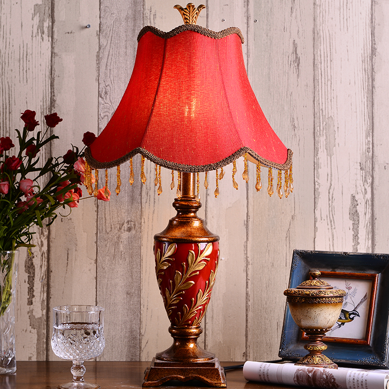 Nordic Led Wedding Table Lamp Modern Bedroom Bedside Decorative Lamp Table Red Wedding Retro Desk Lamps for Home Fixtures in Desk Lamps from Lights Lighting