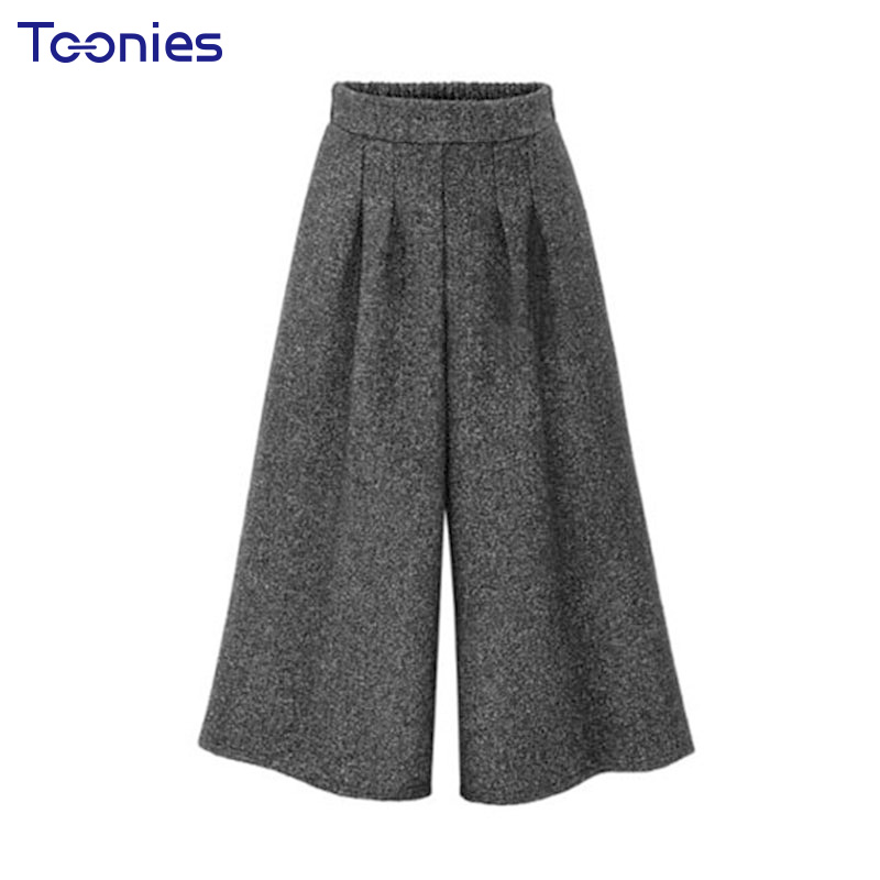 New Fashion European Solid Wide Leg Pants Elastic Waist Baggy Pants Female Winter 2017 New Wool Casual Slim Trousers All-match