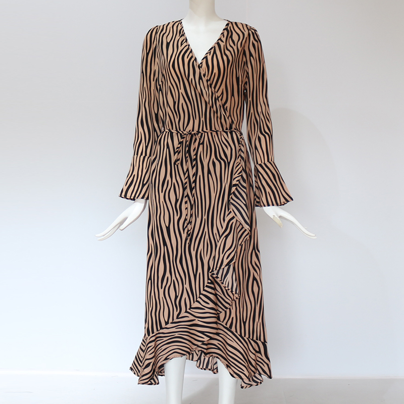 Long Dresses 2020 Women Zebra Print Beach Bohemian Maxi Dress Casual Long Sleeve V Neck Ruffles Elegant Party Dress Vestidos 5