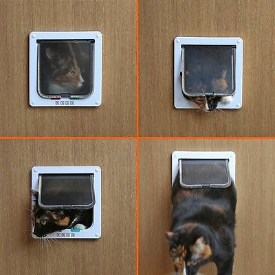 4 Way Lockable Pet Flap Door For Large Medium Small Size Dog Cat White/coffee #3