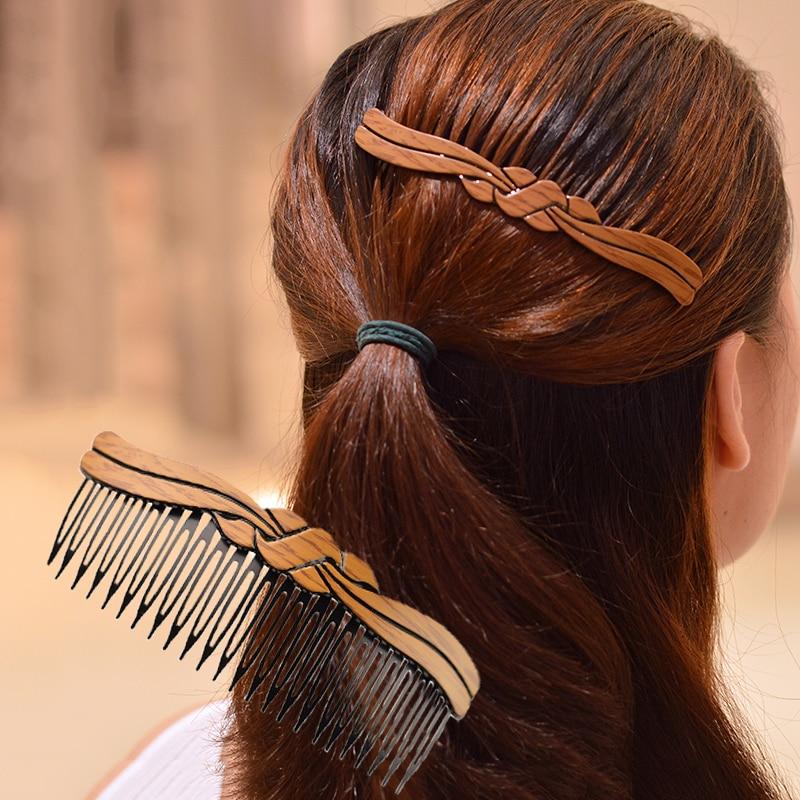 Women   headwear   wooden texture plastic bow bangs hair clip for girls vintage hair combs cute hair accessories for women