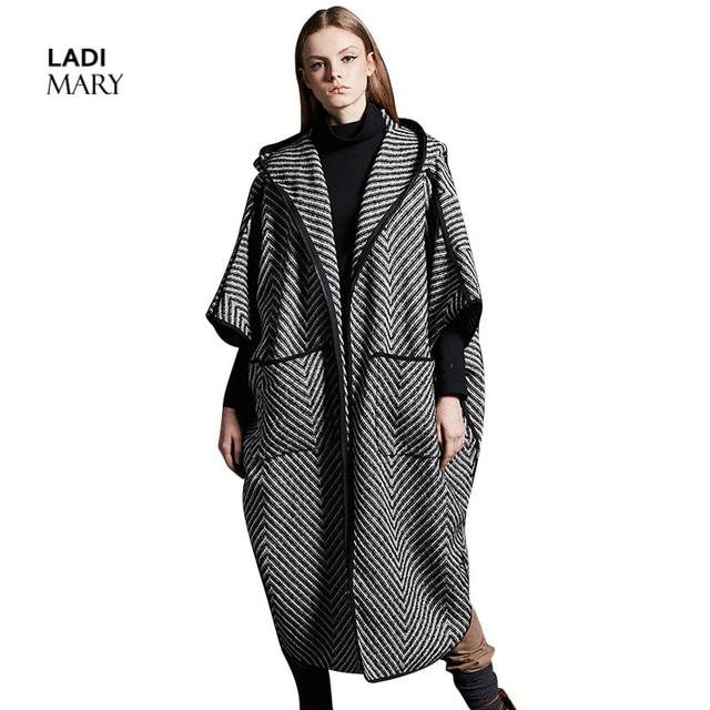 huge discount 09e24 ca340 US $242.44 |LADIMARY Moda Autunno/Inverno Donne Cappotto Nero Con Strisce  Bianche Cappotto Con Cappuccio Lungo Cappotto di Lana LMD16001 in LADIMARY  ...