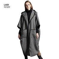 Ladimary модные осенне зимнее пальто женский, черный с белым в полоску пальто с капюшоном с длинным Шерстяное пальто lmd16001