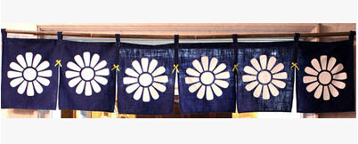 (Customized Size Accept) Korea/Japan/China Sushi Restaurant Kitchen Hanging 6 Combine Linen Curtain-Sun Flowers(210x40cm)
