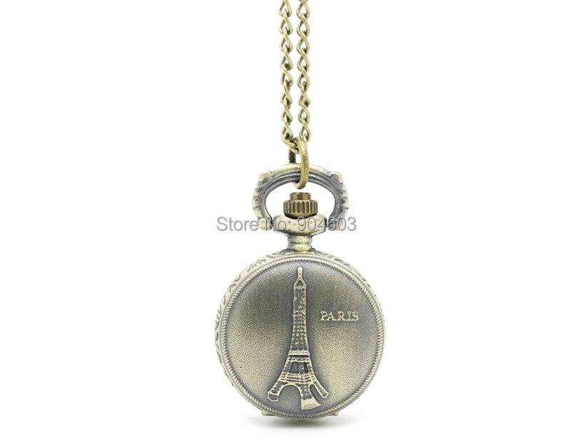 3036) 12 шт./партия, винтажное бронзовое карманное ожерелье в викторианском стиле с изображением Эйфелевой башни, подвеска в виде цепочки для часов