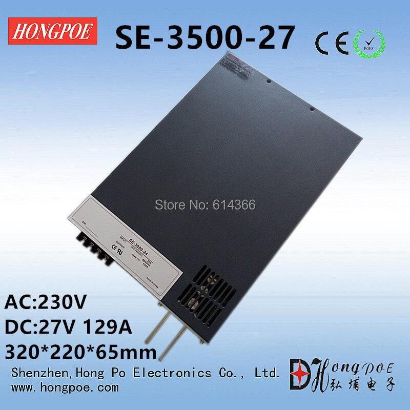 3500W 27V 129A DC 0-27v power supply 27V 129A AC-DC High-Power PSU 0-5V analog signal control SE-3500-27 3500w 30v 116a dc 0 30v power supply 30v 116a ac dc high power psu 0 5v analog signal control se 3500 30