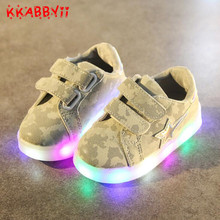 New Arrival Kids Casual Lighted Shoes Girls Boys Glowing Camouflage Sneakers Children Shoes Led Light Baby Girl Lovely Shose(China)