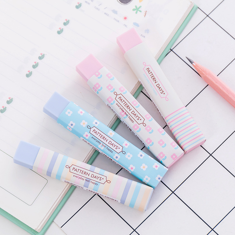 1X Fresh Floral Stripe Rubber Pencil Eraser Drawing Correction School Office Supply Student Stationery Kids Promotion Gift