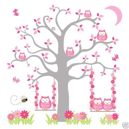 Kinderzimmer baby wände eule  2016 NEUE Rosa Grau Eule Baum Wandbild Wandtattoos baby ...