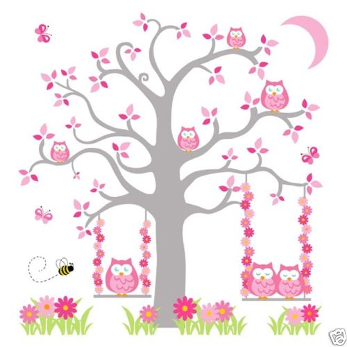 2016 new pink grey owl tree mural wall decals baby girl 39 s for Baby girl wall mural