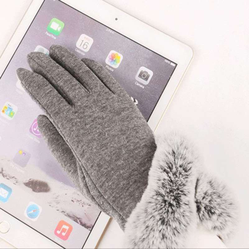 2017 Winter Women Fashion Short Gloves With Faux Rabbit Fur Soft Mittens Glove Female Lady Warm Driving Wrist Guantes Gloves