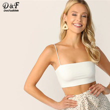 Dotfashion White Solid Crop Cami Top 2019 Zomer Sexy Tops Voor Vrouwen Kleding Vest Dames Jong Basics Slim Fit Hemdje(China)