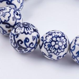 Image 2 - Pandahall 20 pièces 12/18mm fait à la main bleu et blanc porcelaine perles en céramique pour la fabrication de bijoux bricolage