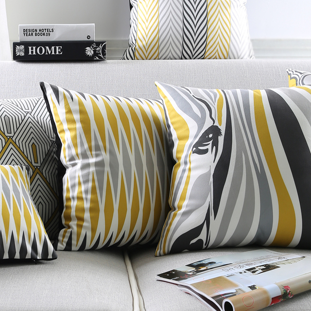 Modern Grey Geometric Cushion Cover Zebra Aztec Stripes