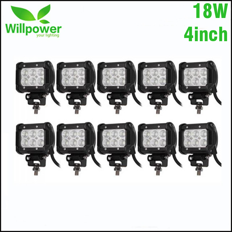 10PCS 4 Inch 18W 36W LED Light Bar Work Light Bar For Off Road 4x4 4WD ATV UTV SUV Motorcycle Truck Auto Tractor Boat Car стоимость