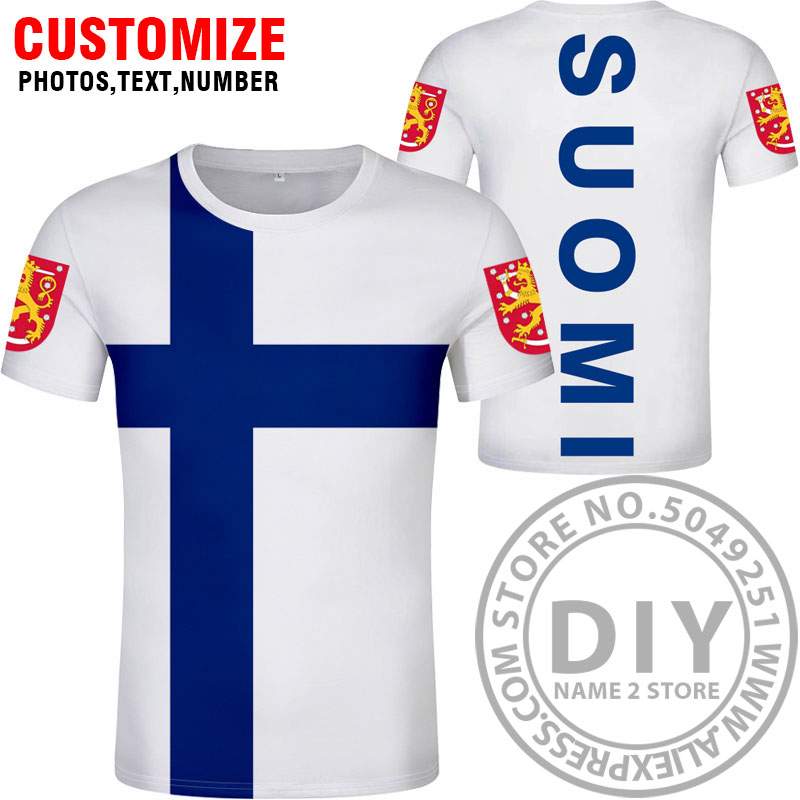 Image 2 - FINLAND t shirt free custom name number fin t shirt nation flag fi finnish swedish suomi print college photo diy country clothes-in T-Shirts from Men's Clothing