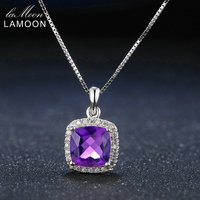 Lamoon 8mm 2ct Natural Square Cut Purple Amethyst 925 Sterling Silver Chain Pendant Necklace Jewelry White