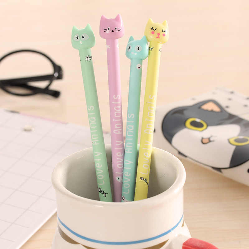 4 pcs Gel Pens Candy colored cat black colored kawaii gift gel-ink pens pens for writing Cute stationery office school supplies