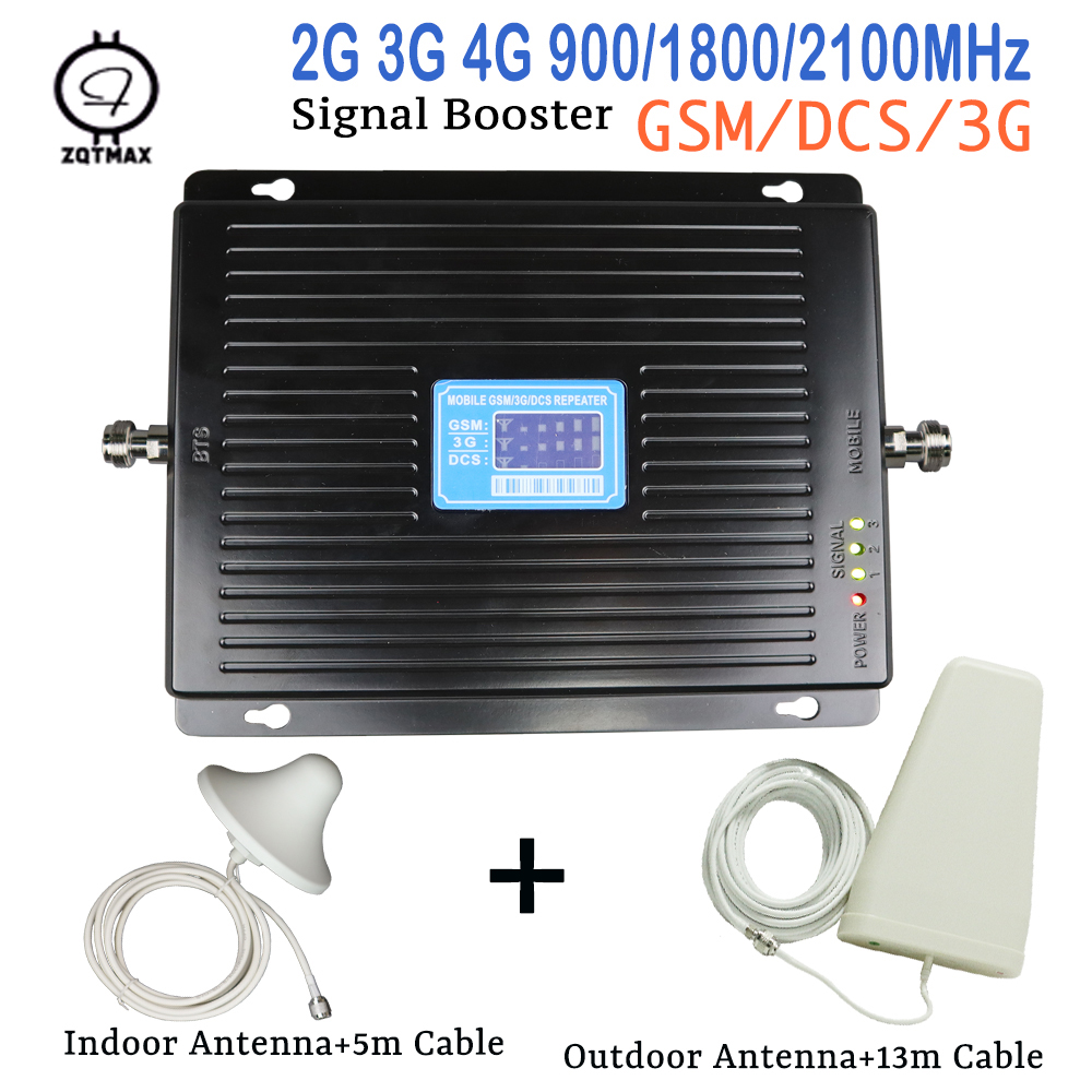 GSM 900 1800 WCDMA 2100 Tri-Band Boost Mobile 3G 4G LTE 75dB Mobile Cellular Signal Amplifier Cell Phone Repeater For Europe