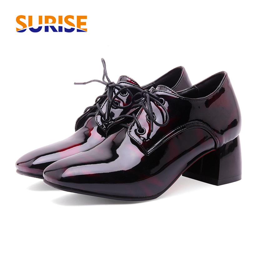 Big Size 5cm Medium High Block Heel Casual Women Derby Square Toe Camouflage Patent Leather Dress Lace Up British Ladies Brogue spring autumn women flats oxford derby brogue pu patent leather square toe lace up vintage sexy casual dress office ladies shoes