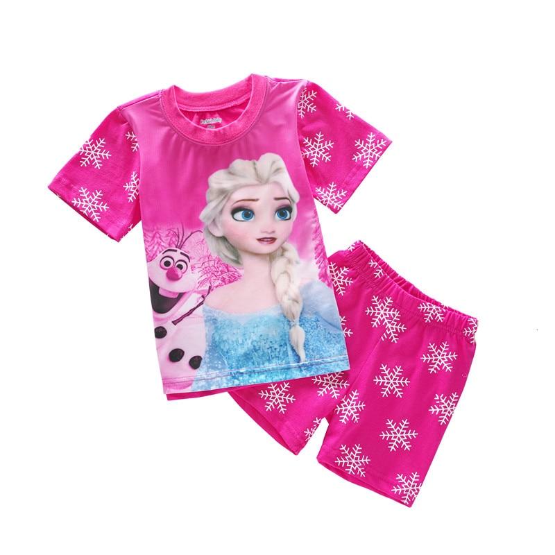 b1d276ce230b9 Children's Clothing Sets Summer Baby Girls pajamas Snow Queen Elsa Anna  Kids sleepwear short sleeve t-shirts+shorts suits LPJ220
