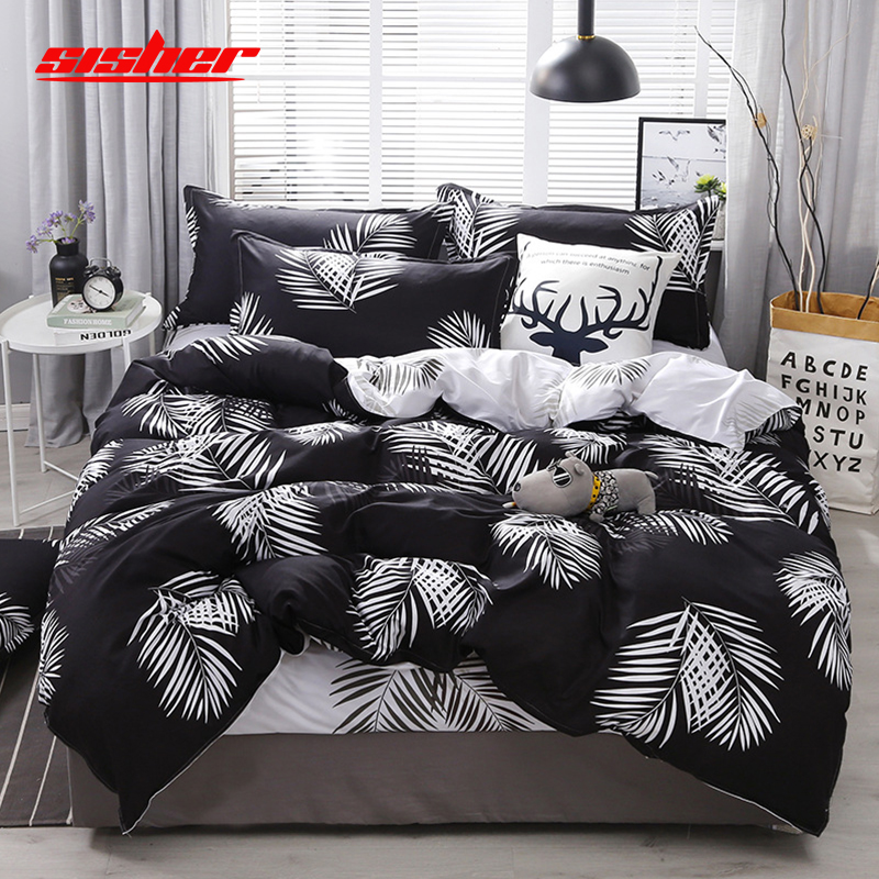 Sisher Printed Plant Leaf Duvet Cover King Size Set Brief Quilt Covers Sets Bed Linen Leaves Single Double Queen Bedclothes Kids