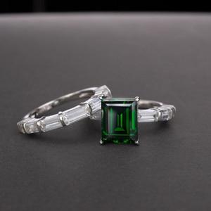 Image 4 - OEVAS 100% 925 en argent Sterling créé Moissanite princesse anneaux ensemble étincelant haute teneur en carbone diamant fête de mariage bijoux fins