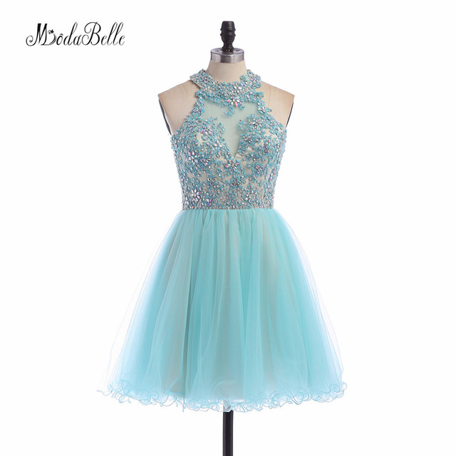 522f930bb modabelle Sweet Sixteen Short Lace Beads Tulle Homecoming Dresses Backless  Sleeveless Rhinestones Aqua Blue Prom Dress Juniors