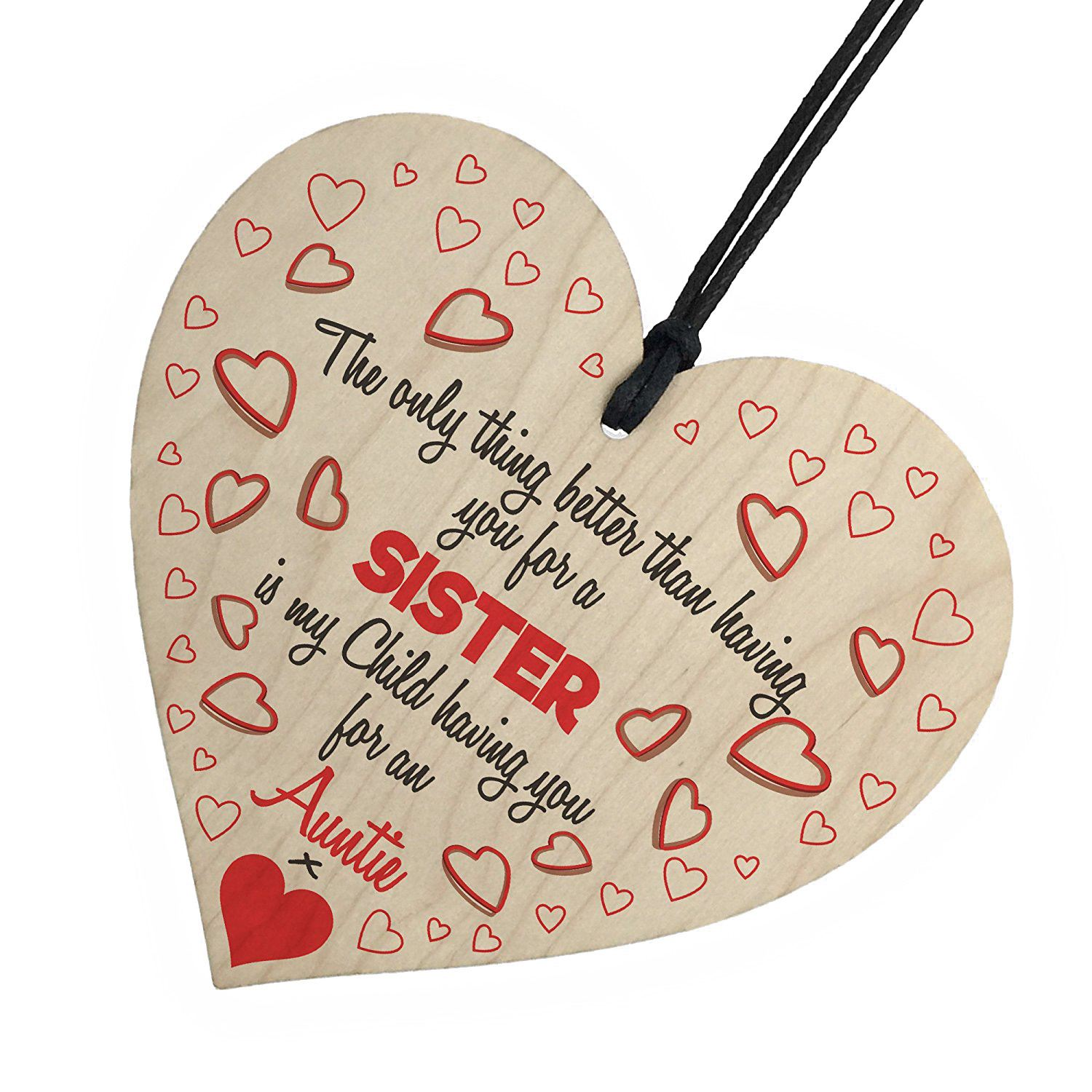 HOT SALE My Children Having You As An Auntie Wooden Hanging Heart Cute Love Aunt Plaque