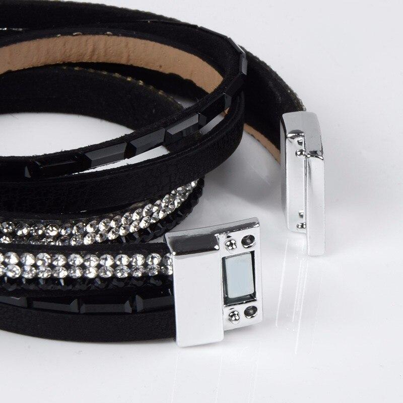 Rhinestone Feather Wide Multilayer Leather Bracelet Magnetic Tassel Bracelet Women Wrap Charm Boho Bohemian Bracelets Bangle Men 5