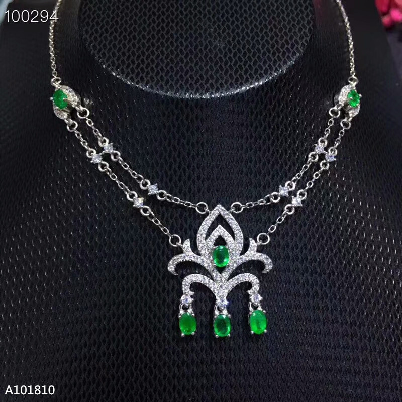 KJJEAXCMY boutique jewels 925 pure silver inlaid natural emerald necklace support test mnhKJJEAXCMY boutique jewels 925 pure silver inlaid natural emerald necklace support test mnh