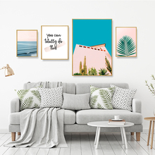 Seascape Poster Nordic Picture Green Plant Painting Landscape Wall Art Quote Prints Pink Scandinavian Home Decor Unframed
