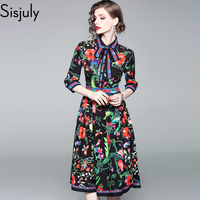 Sisjuly Women Autumn Winter Dark Blue Floral Vintage Dresses Single Breasted Bow Belt Red Green Flower Party Work Date Dress