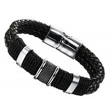 Retro Jewelry  Mens 316L Stainless Steel Braided Leather Bracelet Cuff Bracelet Magnetic Clasp Bangle Vintage Gift obsede fashion genuine leather bracelet for men jewelry stainless steel bangle magnetic clasp black braided rope chain male gift