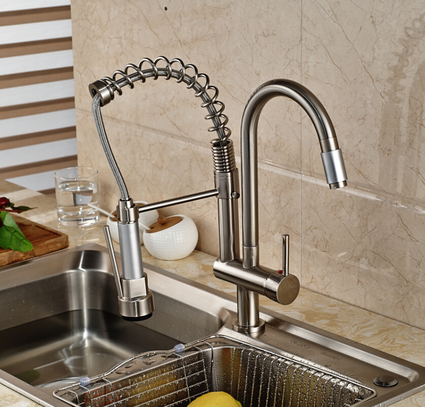Luxury LED Light Pull Down Spray Double Spouts Kitchen Sink Faucet ...