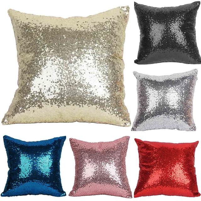 b3942fdf6ba5 Mermaid Sequin Cushion Cover Glitter Pillow Case Solid Pillow Covers for  Home Sofa Car Decoration Pillowcase