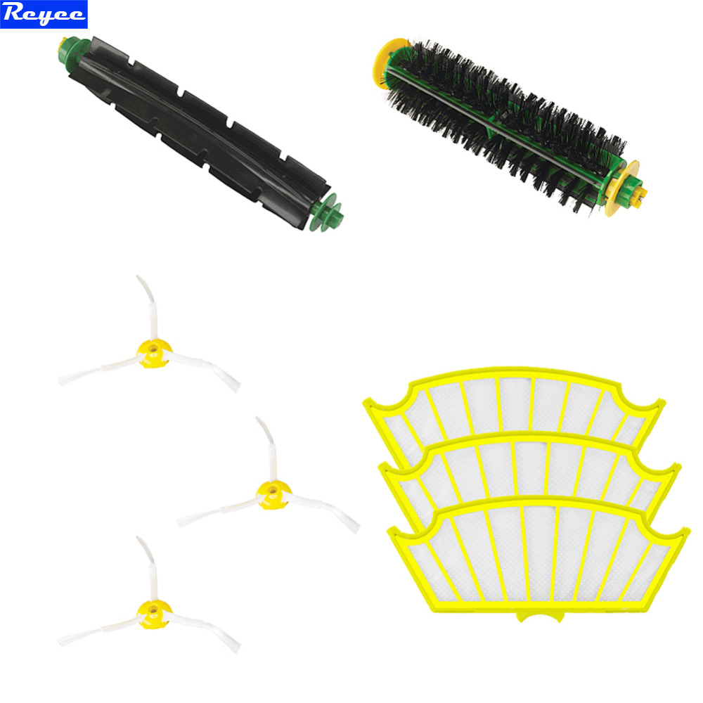 8 Pc/lot 3 Arms Sidebrush + filter kit replacement for Irobot Roomba 500 527 528 530 532 535 540 555 560 562 570 572 580 581 590