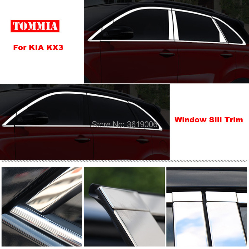 TOMMIA Full Window Middle Pillar Molding Sill Trim Chromium Styling Strips Stainless Ste ...