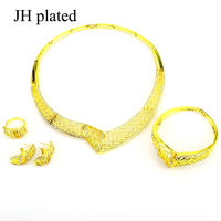 JHplated African Bridal Wedding Jewelry Ethiopian Gold Color Sudan set Pendant Necklace Earring Arab for women or girl