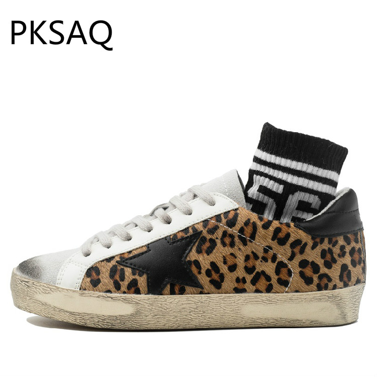 цена Spring Summer Women Shoes Fashion Make Old Dirty Shoes Low Sole Shoes Round Toe Ladies Casual Leopard Flat Sneakers Shoes