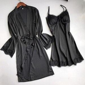 Image 5 - Women Sexy Lace Silk Like Robe & Gown Set Sleep Dress+Bathrobe Two Piece 3 Color Robe Bridesmaid Wedding Sleepwear Pijama Mujer