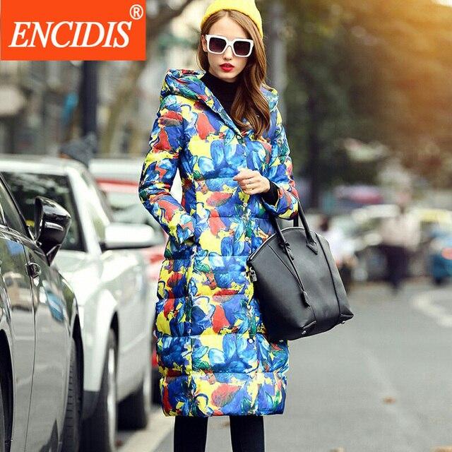 Moda de alta Qualidade Mulheres Para Baixo Casaco de Inverno 2016 Novo Com Capuz jaquetas Senhoras Longo Imprimir Casacos Quentes do Sexo Feminino Venda Quente Roupas Y167