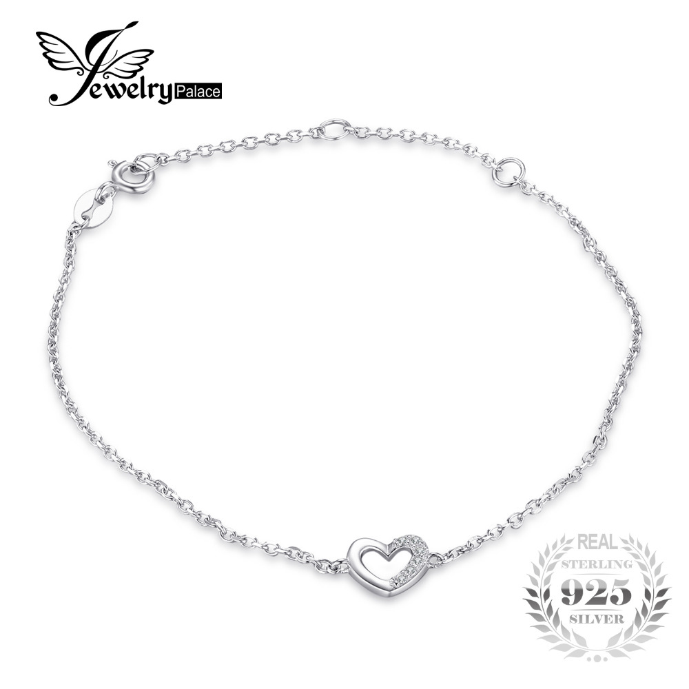 JewelryPalace Heart Love Round Cubic Zirconia Link Chain Bracelet Real 925 Sterling Silver Fashion Jewelry For Women Party Gift trendy letter heart round rhinestone bracelet for women