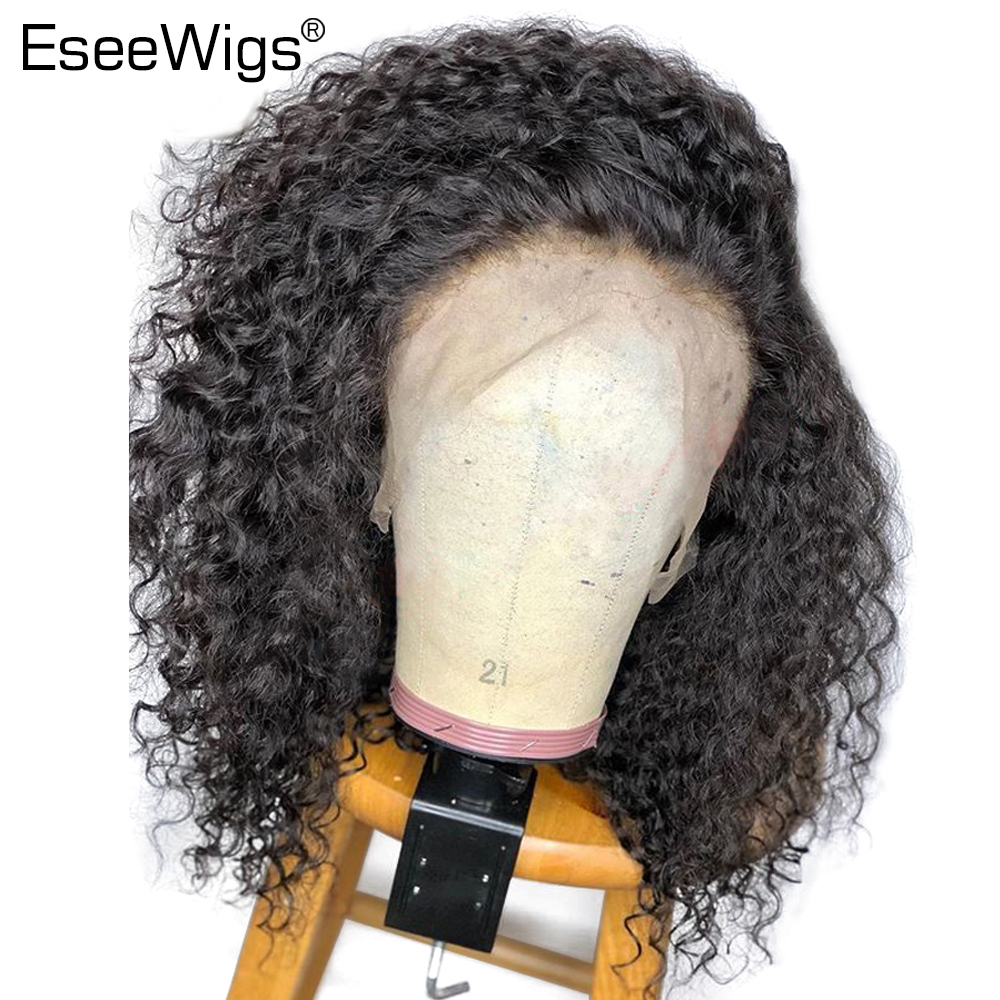 Eseewigs 150% Density Curly Lace Front Human Hair Wigs Pre Plucked With Baby Hair For Women Brazilian Remy Hair Bleached Knots