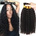 Мягкий Малайзии Вьющиеся Плетение Волос Оптом 3 Budnels Солнечный Королева вьющиеся Крючком Человеческих Волос Косы 10A Малайзии Афро Кудрявый Массового волос