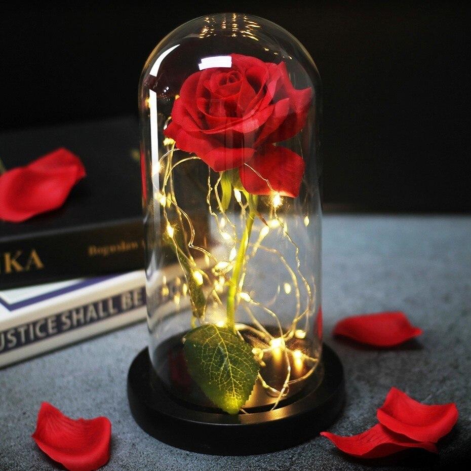 Lampe de nuit Led Rose éternelle Luminaria Lampara lampe de chambre belle et bête saint valentin fête de mariage cadeau fête des mères
