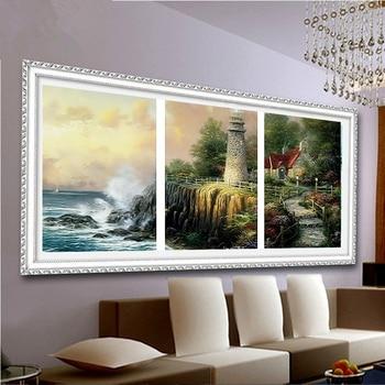 숫자로 그림 그리기 풍경 그림 거실 벽에 대 한 그림 40x50x3 세트 손으로 그린 오일 캔버스 회화 r3019