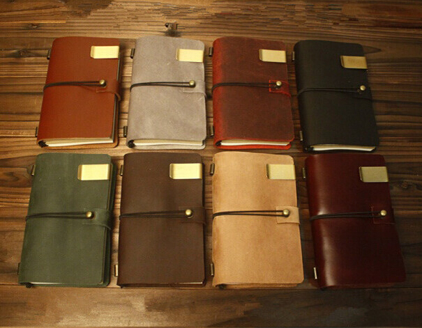 Handmade Genuine Leather Journal Vintage Traveler's  Notebook Cowhide Diary Spiral Loose Leaf Now BUY 1 Book Get  5 Accessories