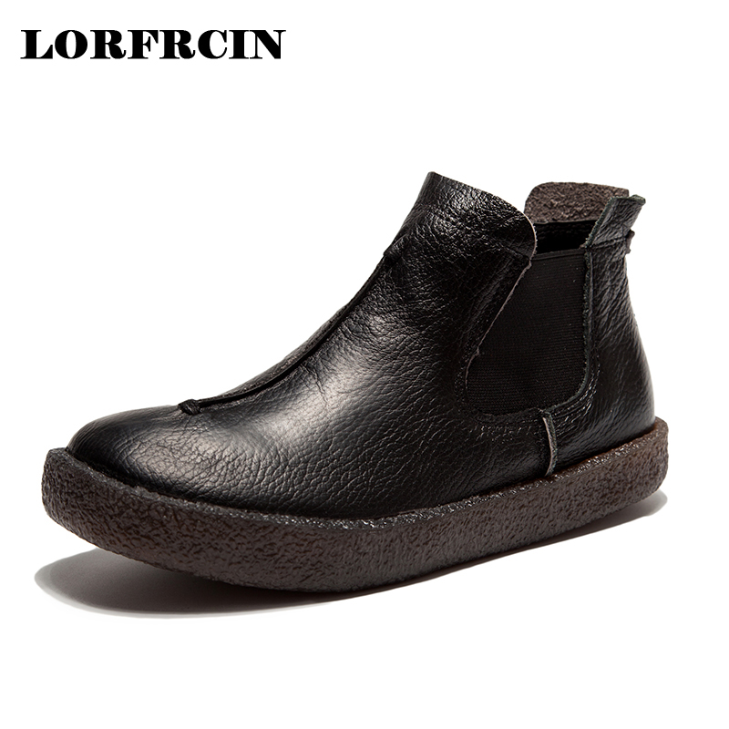LORFRCIN Fashion Handmade Boots For Women Genuine Leather Ankle Shoes Vintage Mom Women Shoes Round Toes Slip on Ladies Boots tastabo 2017 fashion handmade boots for women genuine leather ankle shoes vintage mom women shoes round toes martin boots